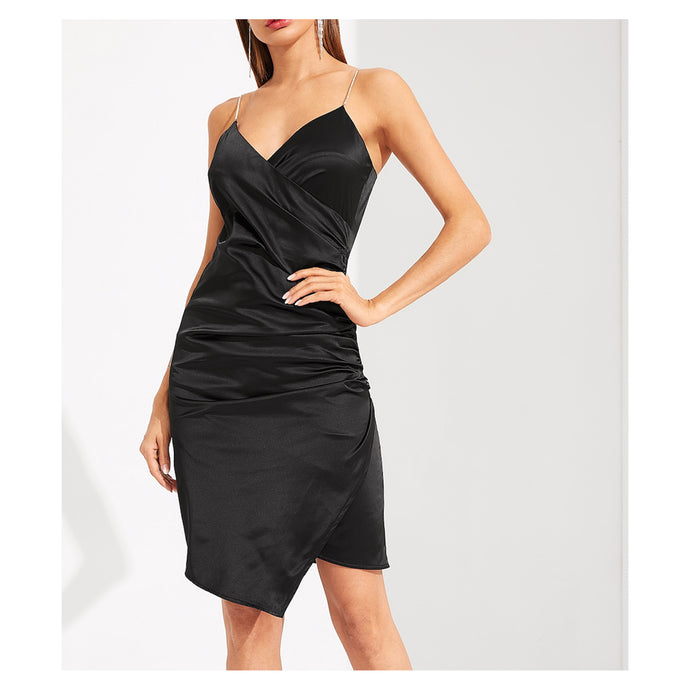 Dress - Black Sleeveless Bodycon Surplice Wrap Satin Formal Dress - MBM Unlimited