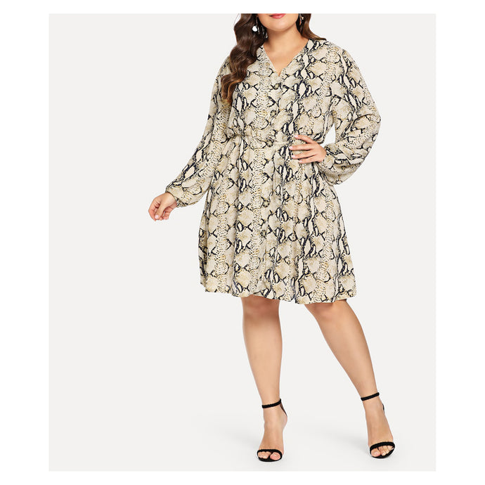 Snakeskin Long Sleeve Button Down Plus Size Dress