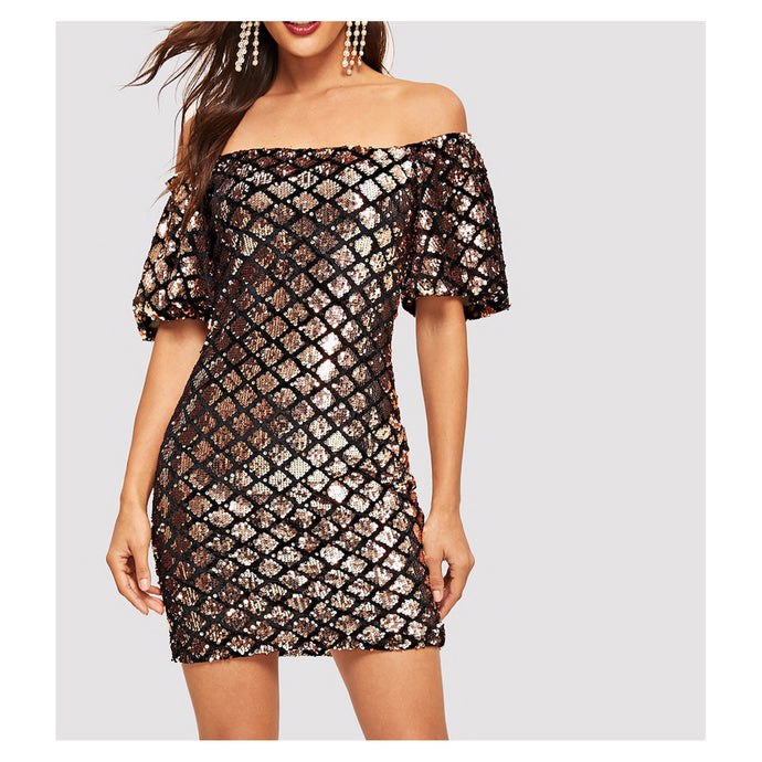 Gold Black Geometric Off the Shoulder Bodycon Sequin Party Dress
