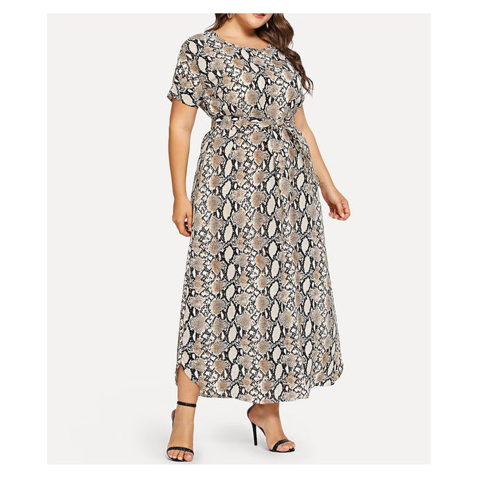 Snakeskin Short Sleeve Plus Size Maxi Dress