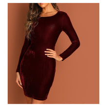 Dress - Burgundy Long Sleeve Bodycon Backless Twist Velvet Cocktail Dress - MBM Unlimited
