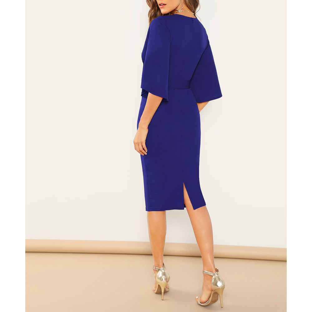 Royal Blue Flutter Sleeve Belted Midi Dress
