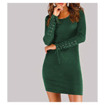 Dress - Green Long Sleeve Lace Up Details Ribbed Bodycon Dress - MBM Unlimited