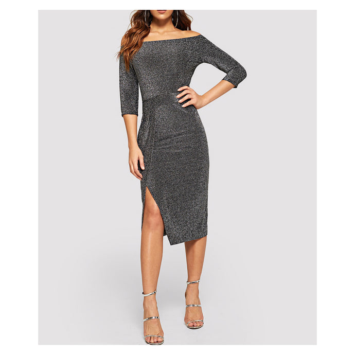 Silver Off the Shoulder Long Sleeve Bodycon Midi Dress