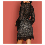 Dress - Black Long Sleeve Lace Overlay Cocktail Dress - MBM Unlimited