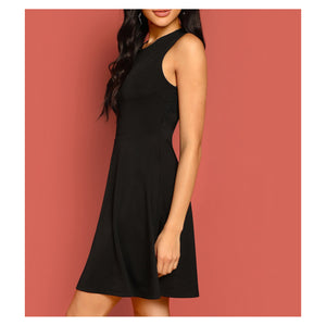Dress - Black Sleeveless Fit and Flare Lace Backless Cocktail Short Dress - MBM Unlimited