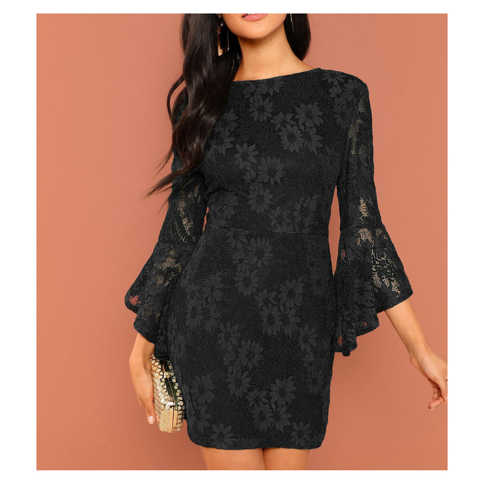 Black Flounce Sleeve Bodycon Floral Lace Cocktail Dress