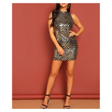 Gold Black Geometric Sleeveless Bodycon Sequin Cocktail Dress