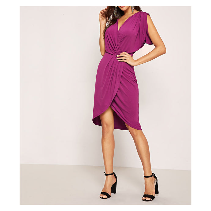 Purple Gathered Sleeves Sexy Cocktail Faux Wrap Dress