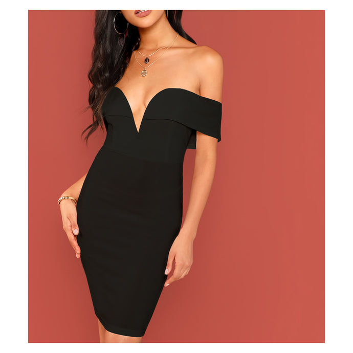 Dress - Black Bardot Plunge Bodycon Cocktail Short Dress - MBM Unlimited