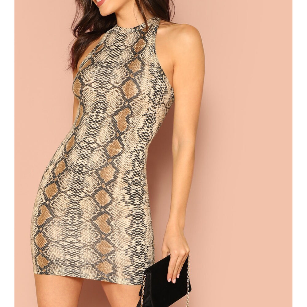 Dress - Snakeskin Print Halter Bodycon Mini Dress - MBM Unlimited