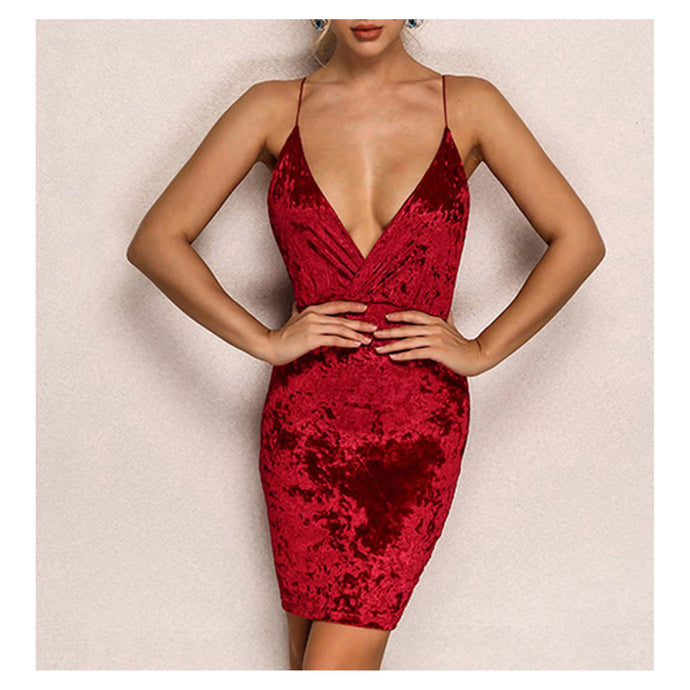 Burgundy Sleeveless Bodycon Sexy Velvet Party Dress