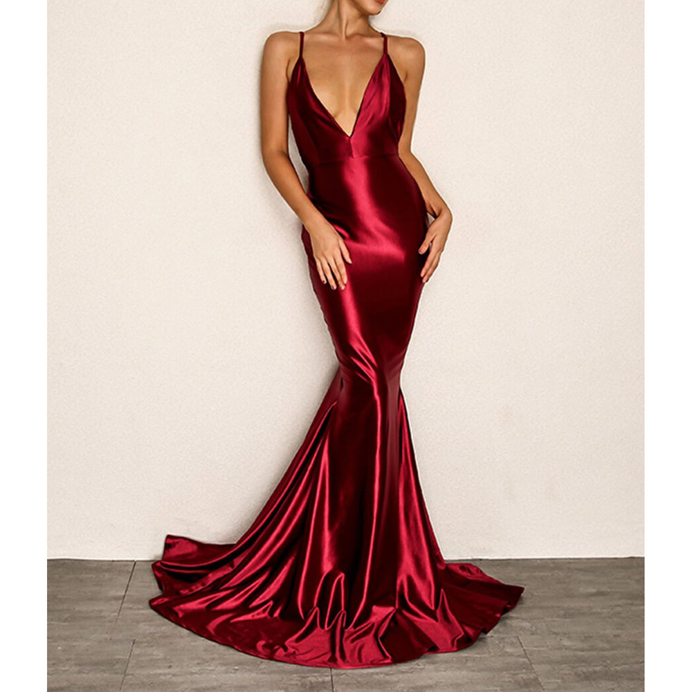 Dress - Red Plunge Open Back Mermaid Evening Satin Dress - MBM Unlimited