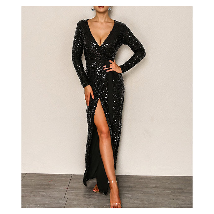Dress - Black Long Sleeve Fit and Flare Sequin Cocktail Maxi Dress - MBM Unlimited