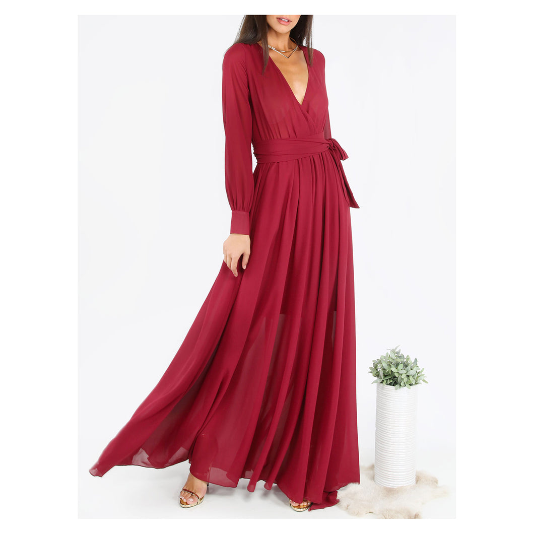 Dress - Burgundy Red V-Neck Long Sleeve Chiffon Maxi Dress - MBM Unlimited