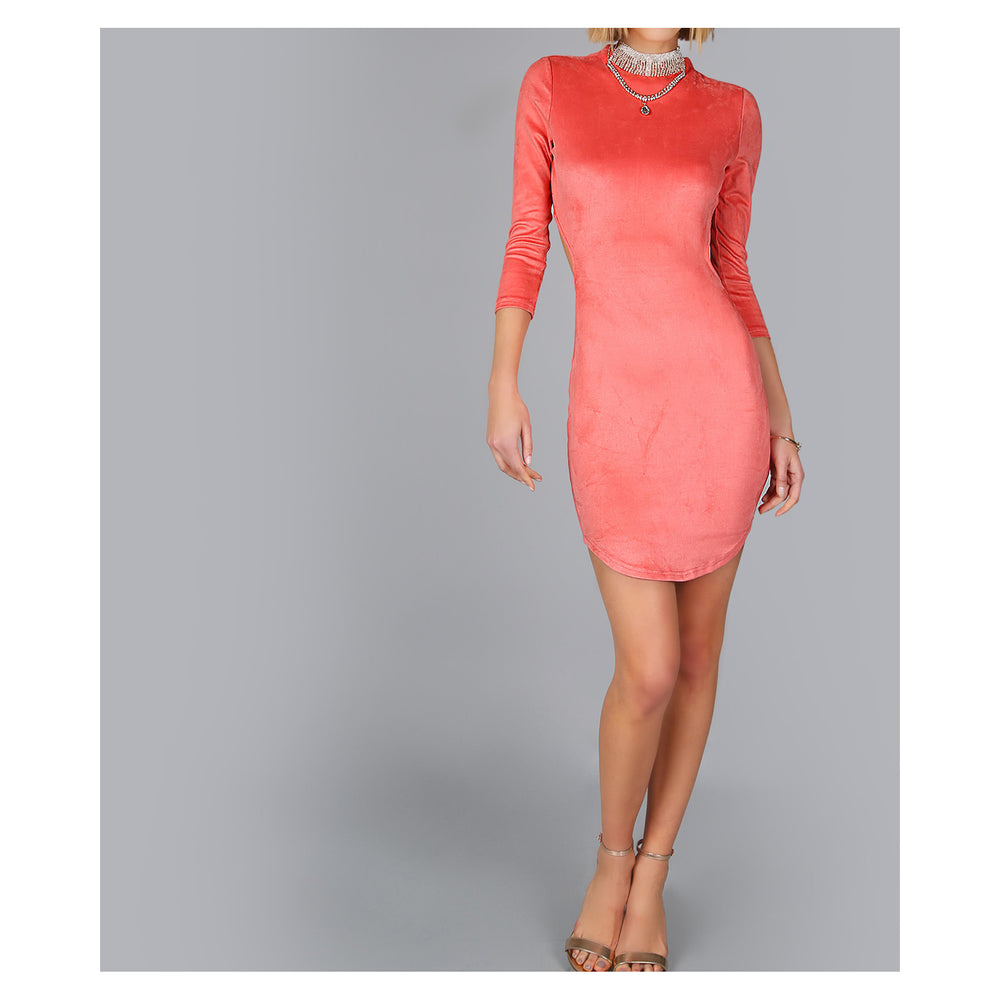 Dress - Coral Pink Backless Faux Suede Bodycon Mini Dress - MBM Unlimited