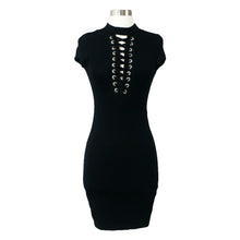 Dress - Black Lace up Eyelet Bodycon Mini Dress - MBM Unlimited