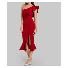 Red One Shoulder Ruffle Side Split Bodycon Midi Dress