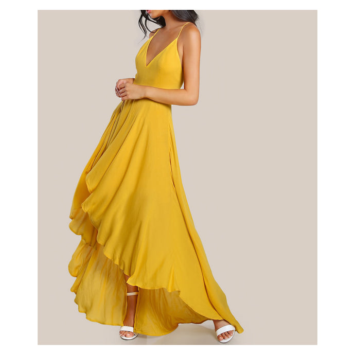 Yellow Sleeveless Lace Up Back High Low Maxi Dress
