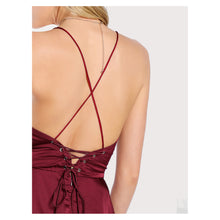 Dress - Burgundy Red Sleeveless Lace Up Back High Low Satin Maxi Dress - MBM Unlimited