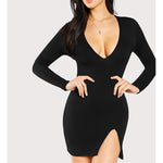 Dress - Black Deep V Side Slit Bodycon Sexy Dress - MBM Unlimited