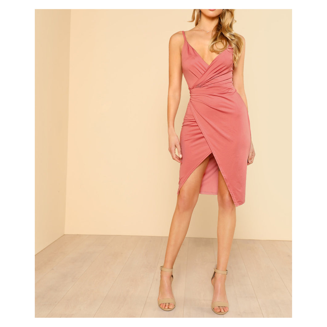 Pink Low Back Front Wrap Cami Dress