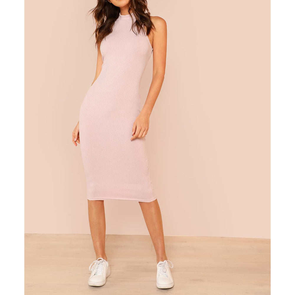 Dress - Blush Pink Halter Bodycon Ribbed Midi Dress - MBM Unlimited