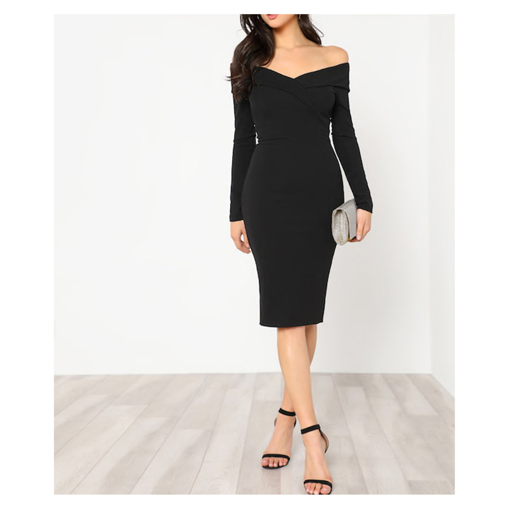 Dress - Black Foldover Off Shoulder Bodycon Midi Dress - MBM Unlimited