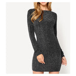 Dress - Black Silver Glitter Long Sleeve Low Back Bodycon Dress - MBM Unlimited
