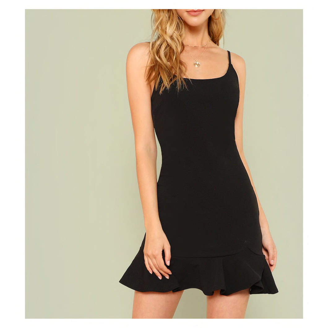 Dress - Black Sleeveless Bodycon Ruffle Hem Cami Dress - MBM Unlimited