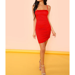 Red Solid Side Ruched Bodycon Cami Dress