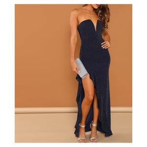 Dress - Blue Silver Glitter Bandeau Bodycon Asymmetrical Ruffle Prom Dress - MBM Unlimited