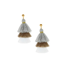 Earrings - Grey Beige White Stud Tassel Statement Earrings - MBM Unlimited