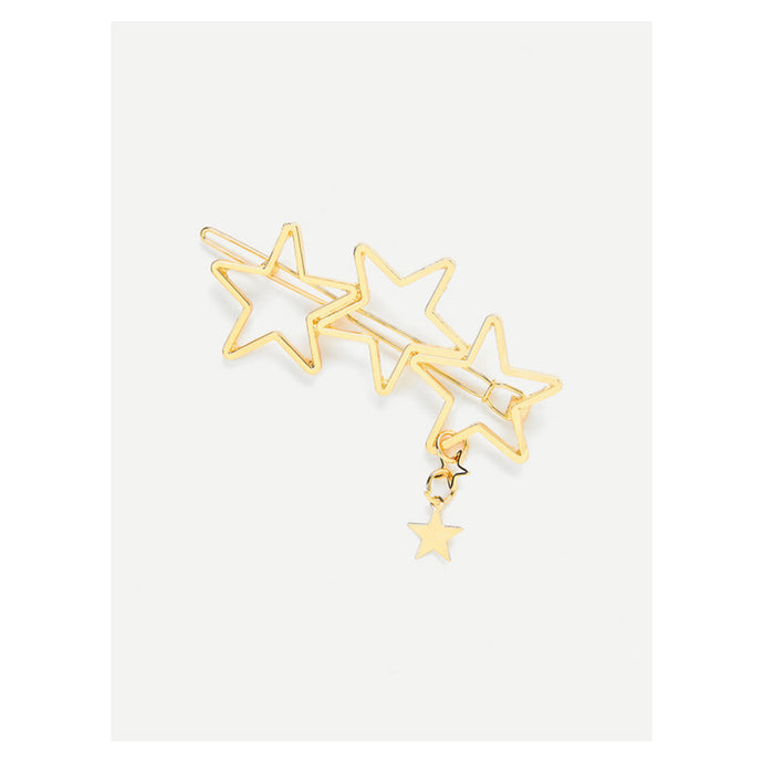 Hair Accessories - Gold Hallow Stars Barrette Hair Clip - MBM Unlimited