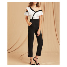 Jumpsuit - Black White Ruffle Asymmetric Shoulder Dressy Jumpsuit - MBM Unlimited