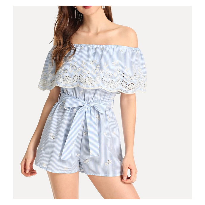 Romper - Blue Striped Off the Shoulder Embroidered Belted Romper - MBM Unlimited
