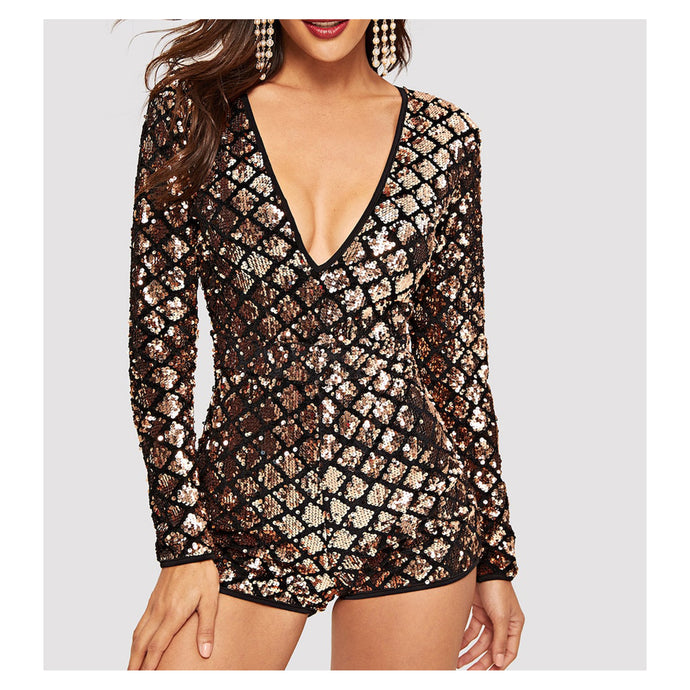 Romper - Gold Black Long Sleeve Geometric Sequin Romper - MBM Unlimited