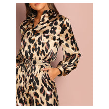 Jumpsuit - Animal Print Long Sleeve Cocktail Satin Jumpsuit - MBM Unlimited