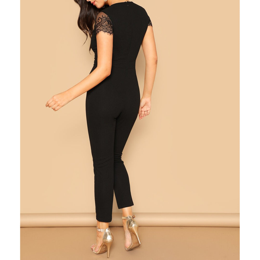 Jumpsuit - Black Lace Sleeve V Neck Cocktail Jumpsuit - MBM Unlimited