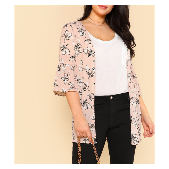 Top - Blush Pink Floral Trumpet Sleeve Kimono - MBM Unlimited