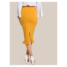 Yellow Ruffle Hem Bodycon Midi Pencil Skirt