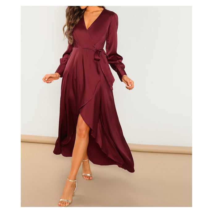Dress - Burgundy Long Sleeve High Low Wrap Satin Party Maxi Dress - MBM Unlimited