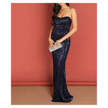 Dress - Blue Strapless Bodycon Sequin Evening Formal Dress - MBM Unlimited