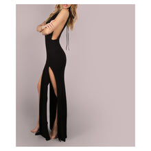 Dress - Black Mesh Sides M Slit Maxi Dress - MBM Unlimited