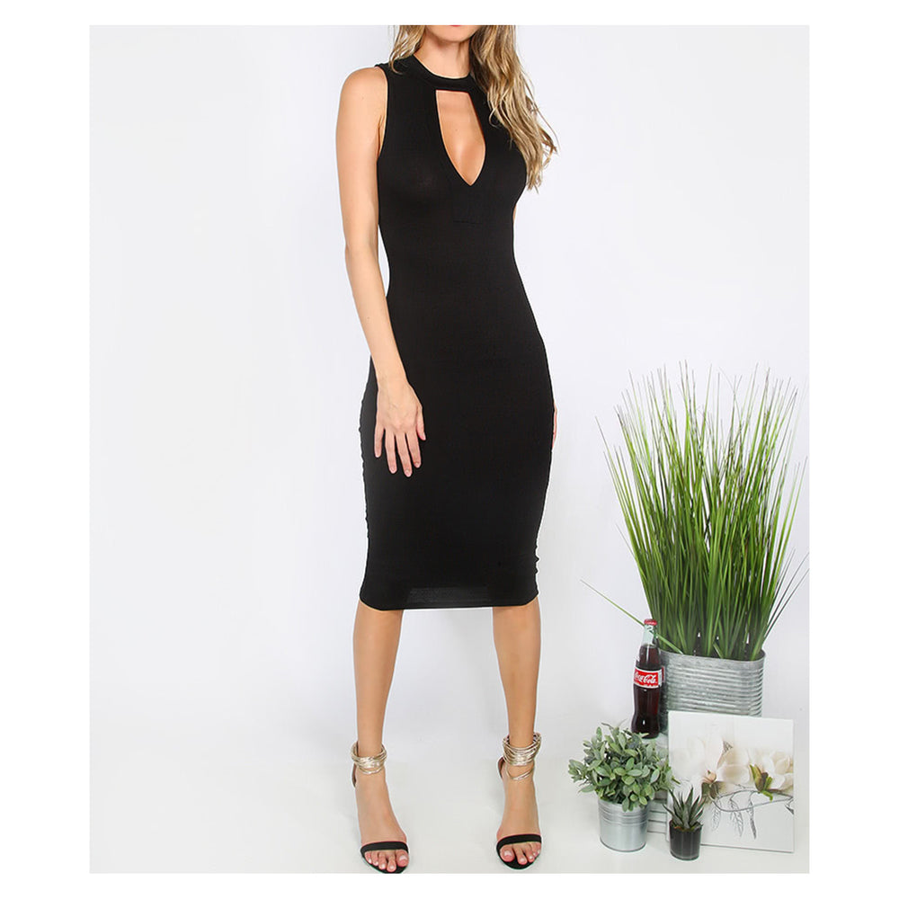 Dress - Black Cut Out Sleeveless Bodycon Midi Dress - MBM Unlimited