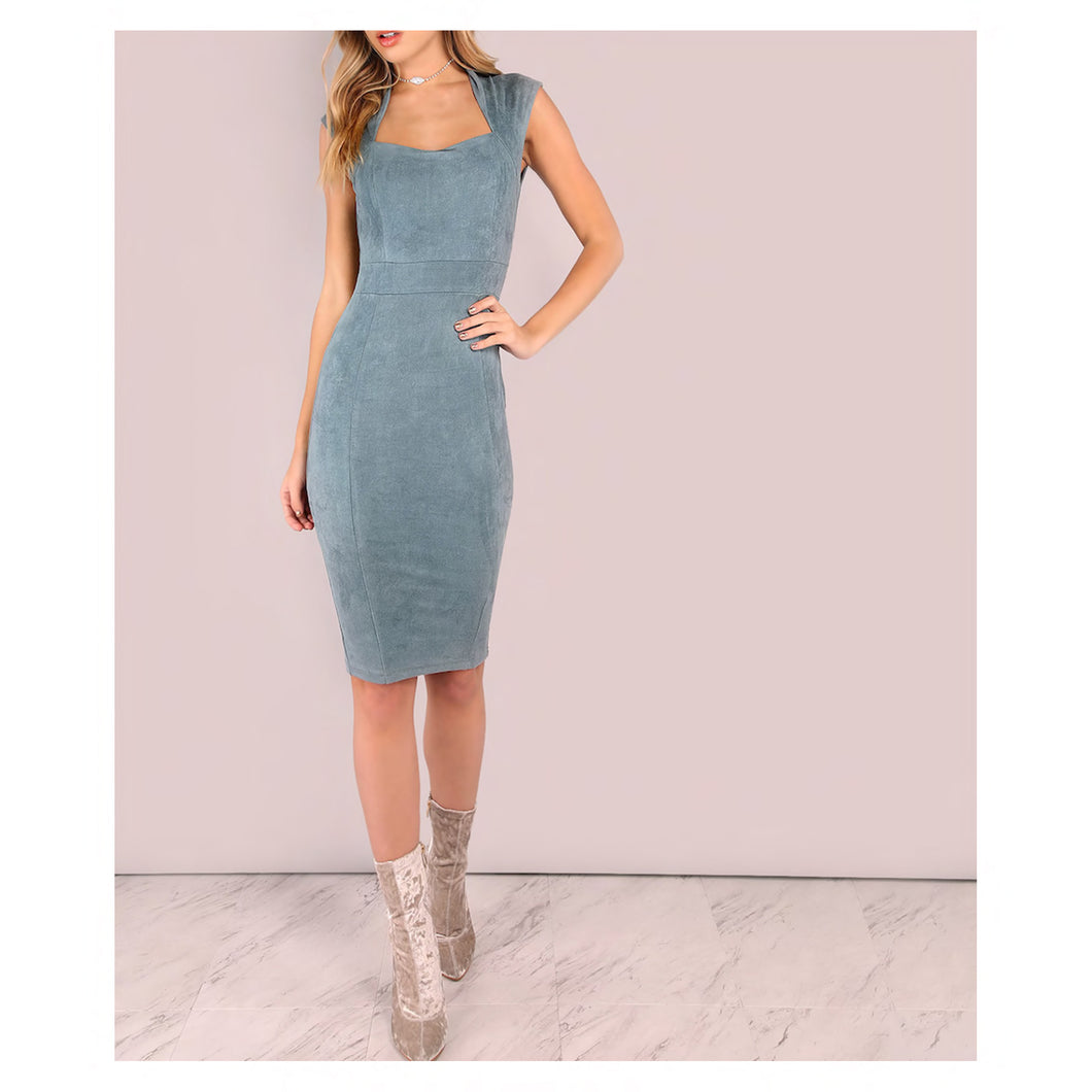 Dress - Blue Grey Faux Suede Sleeveless Bodycon Midi Dress - MBM Unlimited