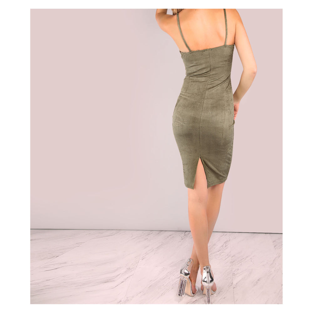 Dress - Olive Green Sleeveless Faux Suede Bodycon Dress - MBM Unlimited
