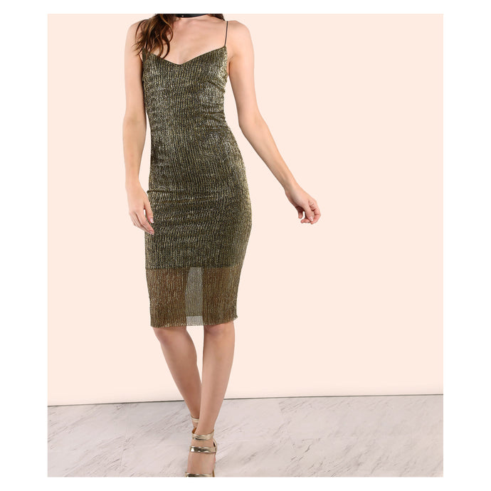 Dress - Gold Metallic Spaghetti Straps Bodycon Midi Dress - MBM Unlimited