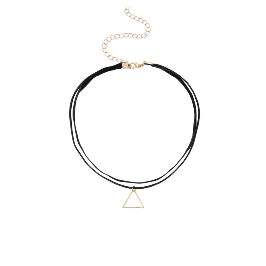 Necklace - Black Gold Double Layer Triangle Pendant Choker - MBM Unlimited