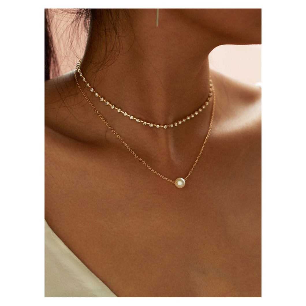 Necklace - Gold Faux Pearl Rhinestone Choker Necklace Set - MBM Unlimited